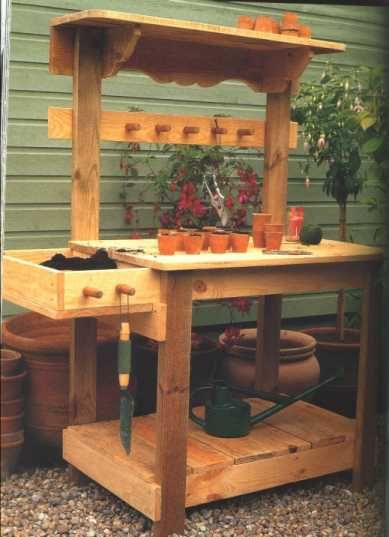 Example Of A Garden Potting Bench Plans Free Woodworking Projects   Plans Medium