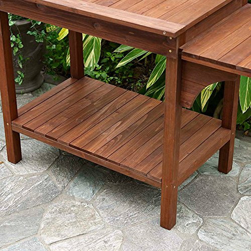 Example Of A Garden Potting Bench With Storage Shelf Wood Outdoor Large Medium