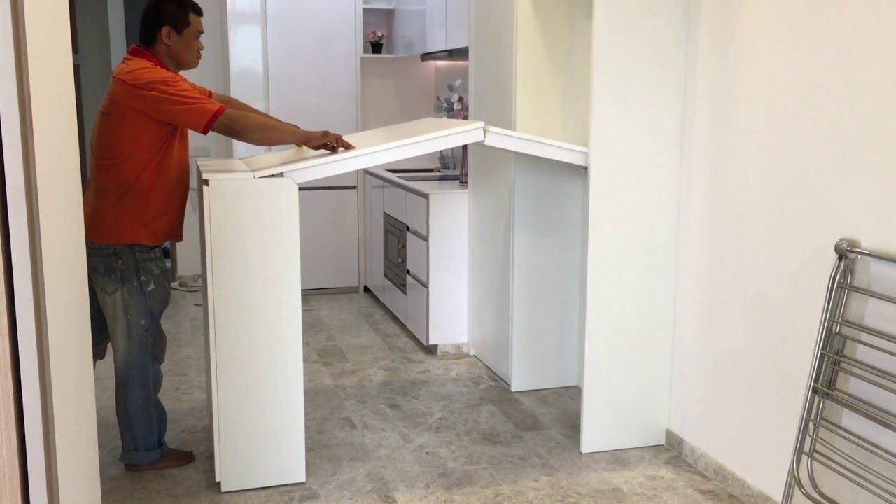 example of a hidden dinning table bar height blisskovan studio