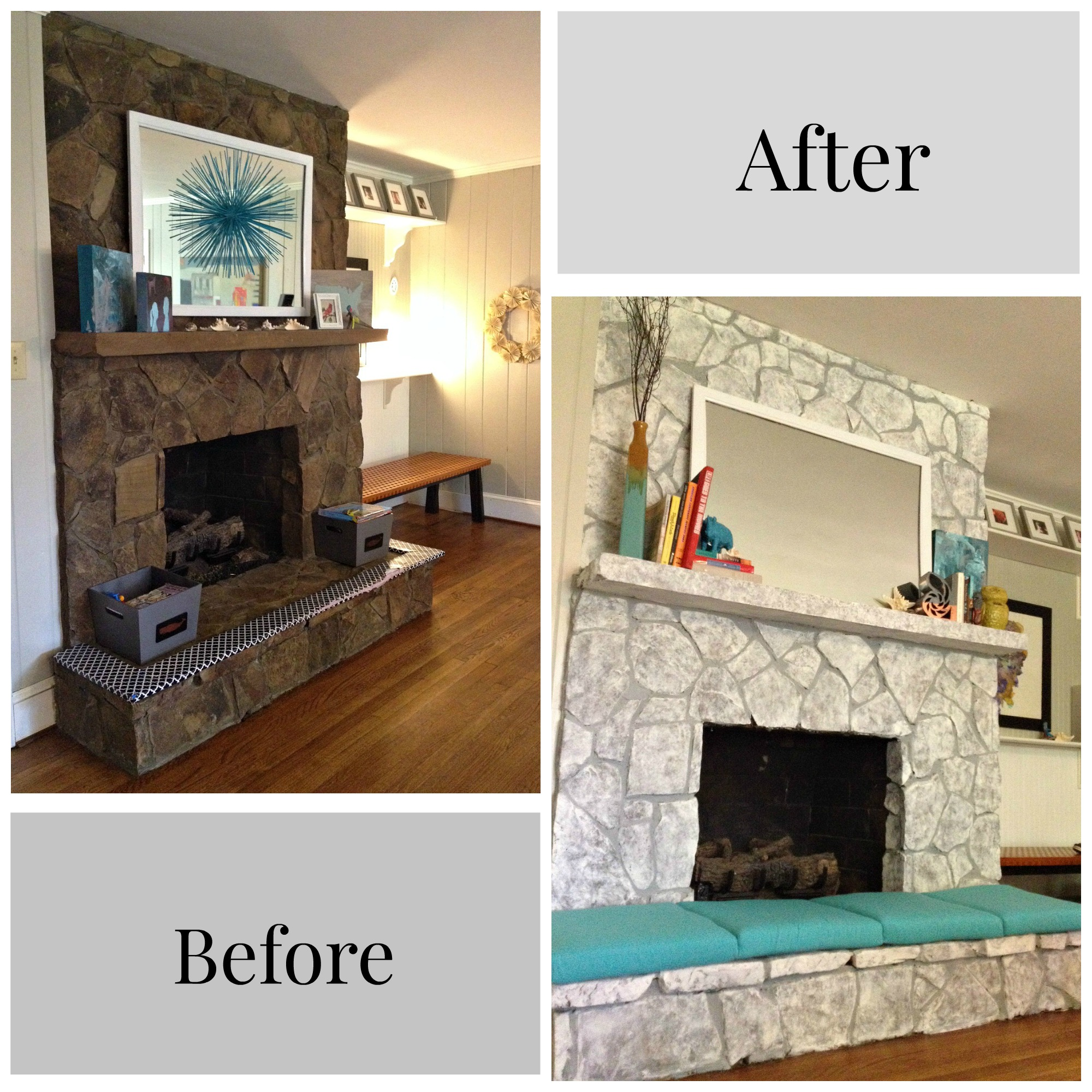 example of a painting a stone fireplacefinally i did it