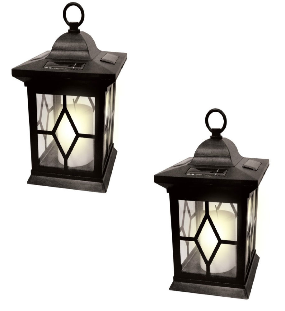 explore 2 x solar powered hanging candle lantern garden table lamp