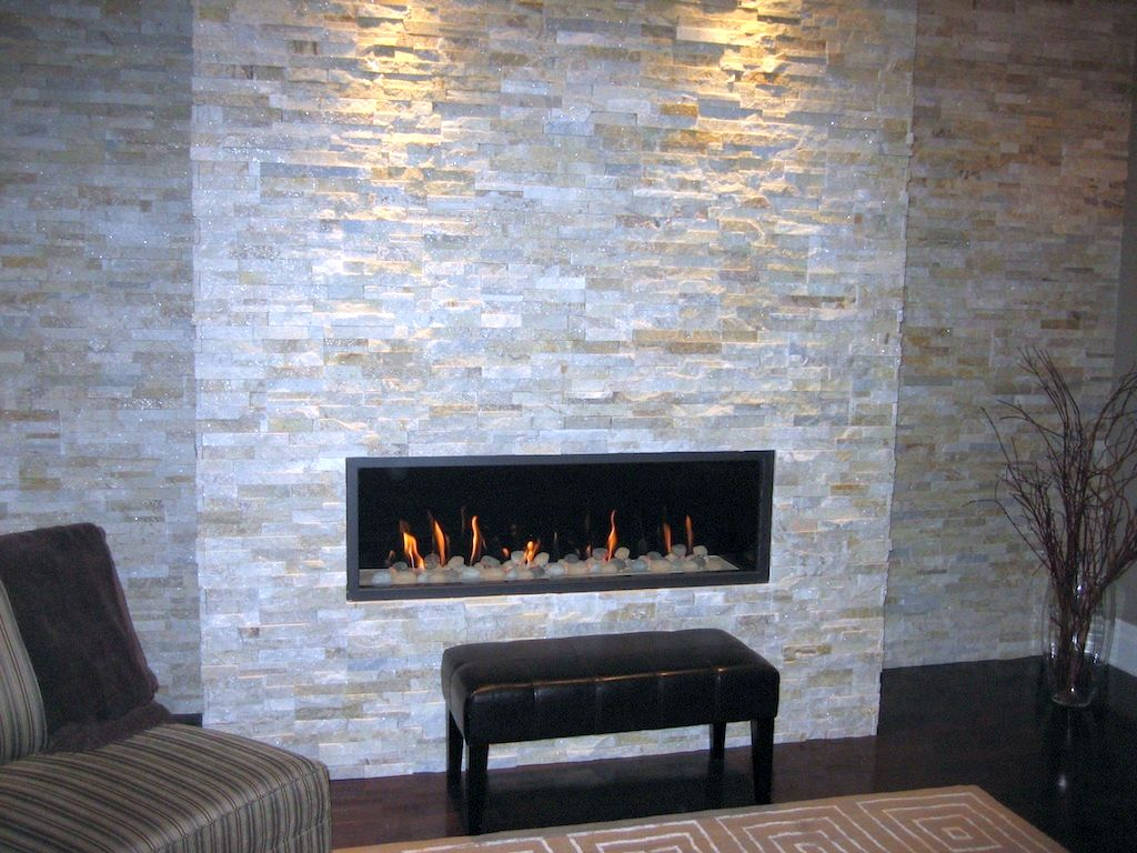 explore contemporary built in stack stone fireplaces
