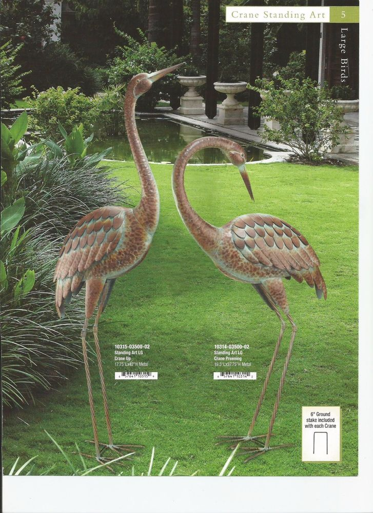 fresh garden decor bird statuary crane preening  up set regal