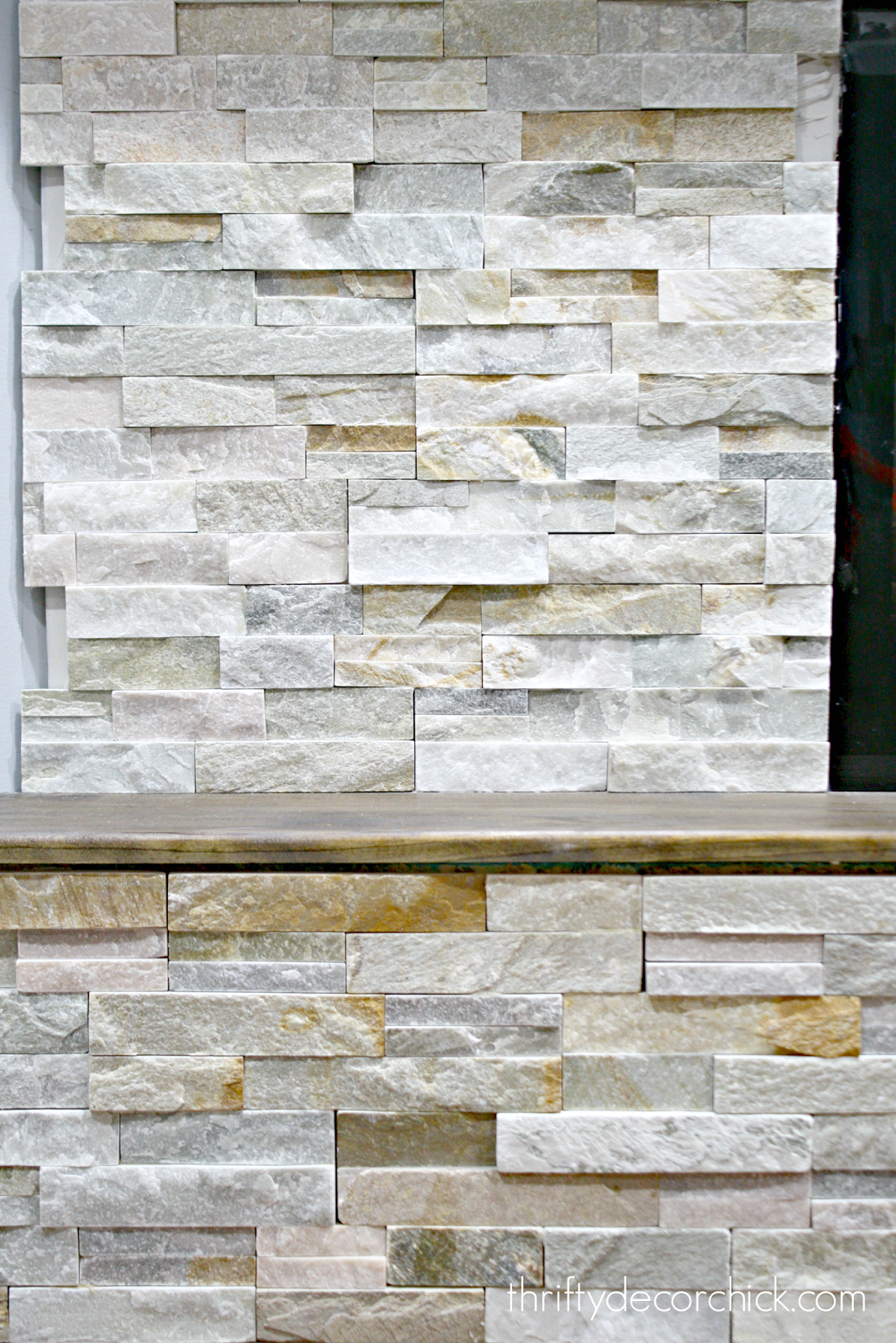 fresh how to install stacked stone tile on a fireplace wall from