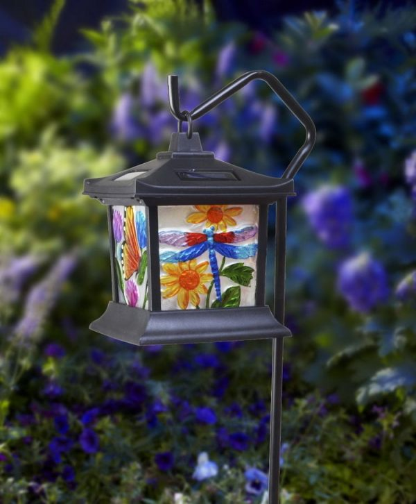 Fresh Led Solar Powered Power Hanging Glass Lantern Lamp Night Medium