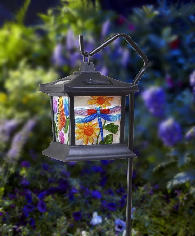 fresh led solar powered power hanging glass lantern lamp night