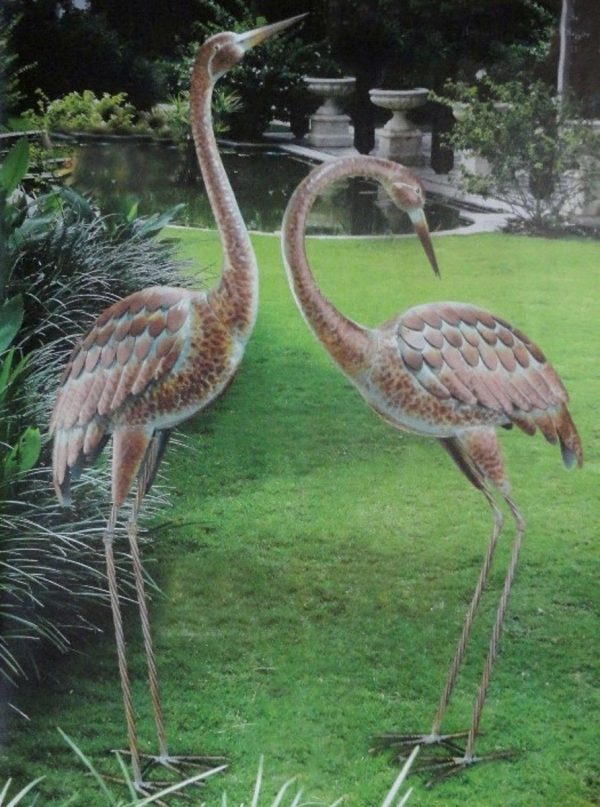 Get Garden Crane Pair Statues Heron Bird Sculpture Metal Medium