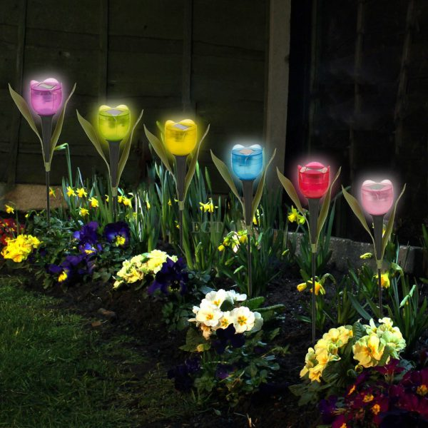 Get Garden Tulip Flower Shape Led Solar Powered Lights Outdoor Medium