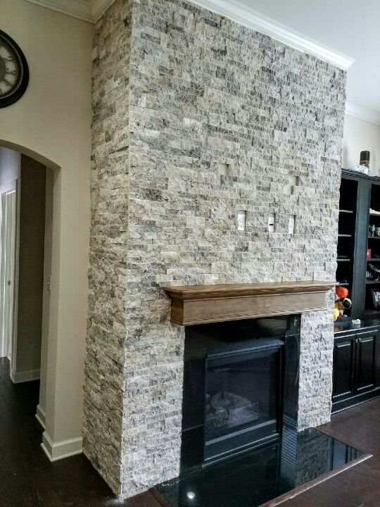 Get Silver Travertine Stacked Stone Fireplace Stone Medium