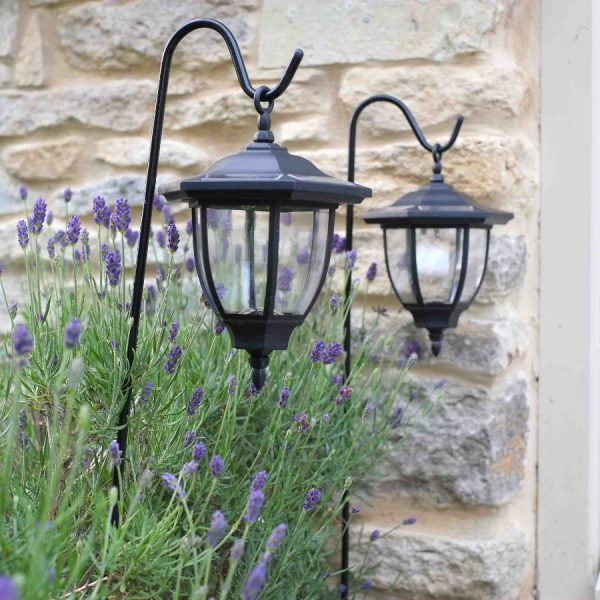 Get Solar Powered Shepherds Crook Coach Lanterns Pack Of 2 Medium