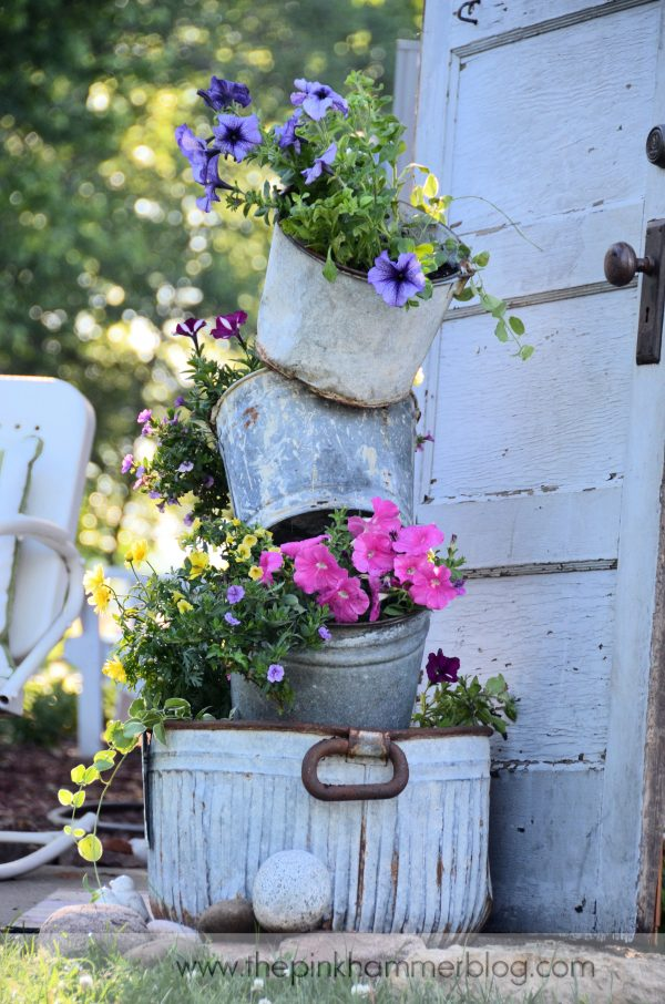 Innovative Primitive Tipsy Pot Plantersdiy Rustic Garden Decor Medium
