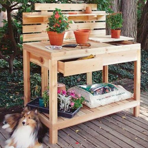 innovative reclaimed pallet work bench for gardenpallets designs