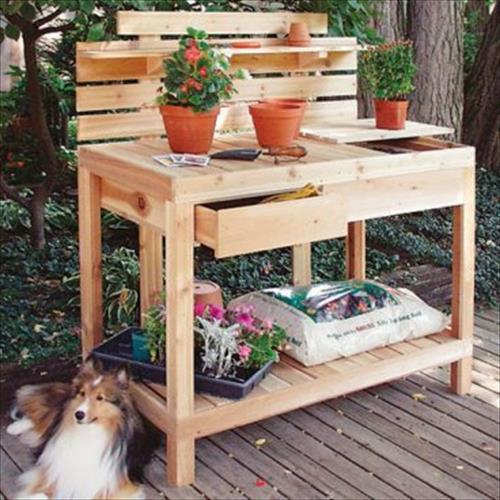 Innovative Reclaimed Pallet Work Bench For Gardenpallets Designs Medium