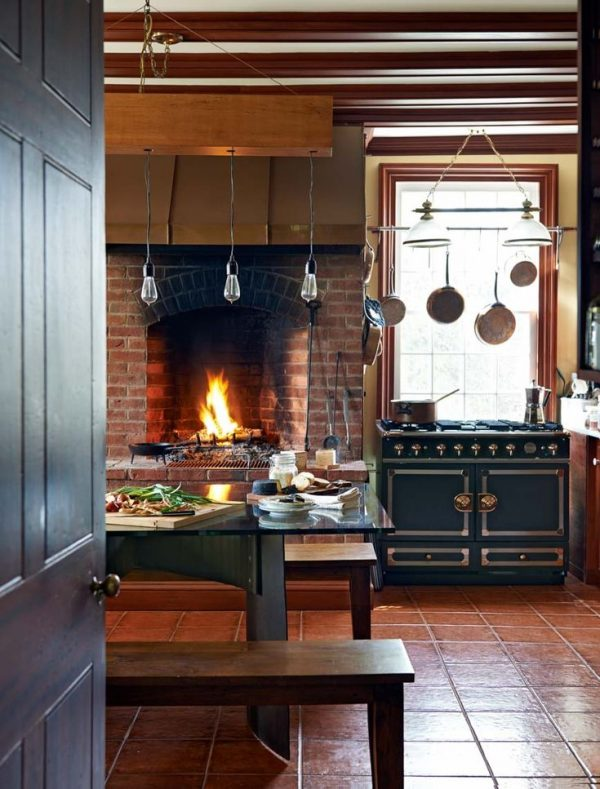 Innovative Rustic Modern Kitchen With Fireplace   Trophy Cook Stove Medium