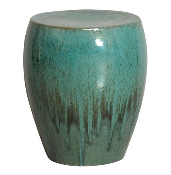 Innovative Teal Green Frost Coastal Beach Simple Ceramic Garden Seat Medium