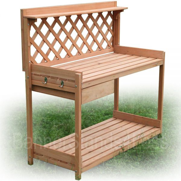 Innovative Wood Planter Potting Bench Outdoor Garden Planting Work Medium