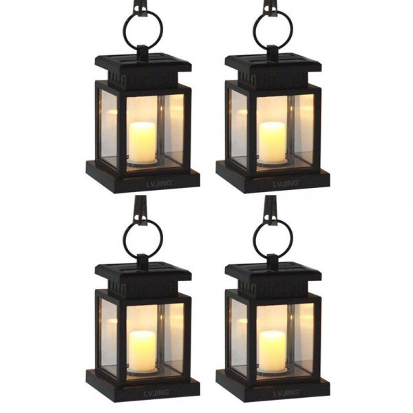 Inspiration 4pcs Outdoor Hanging Candle Light Solar Powered Led Garden Medium