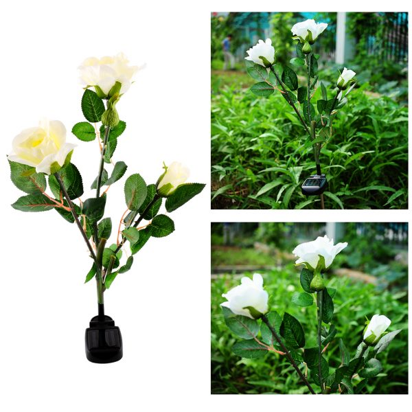 Inspiration Solar Powered 3 Led Rose Flower Stake Garden Decor Light Medium