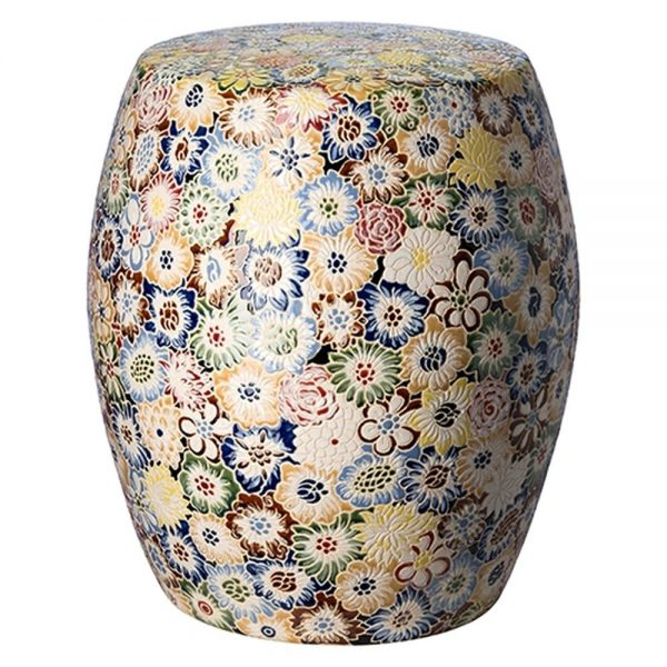 Inspirational Floral Glazed Ceramic Garden Stool Seven Colonial Medium