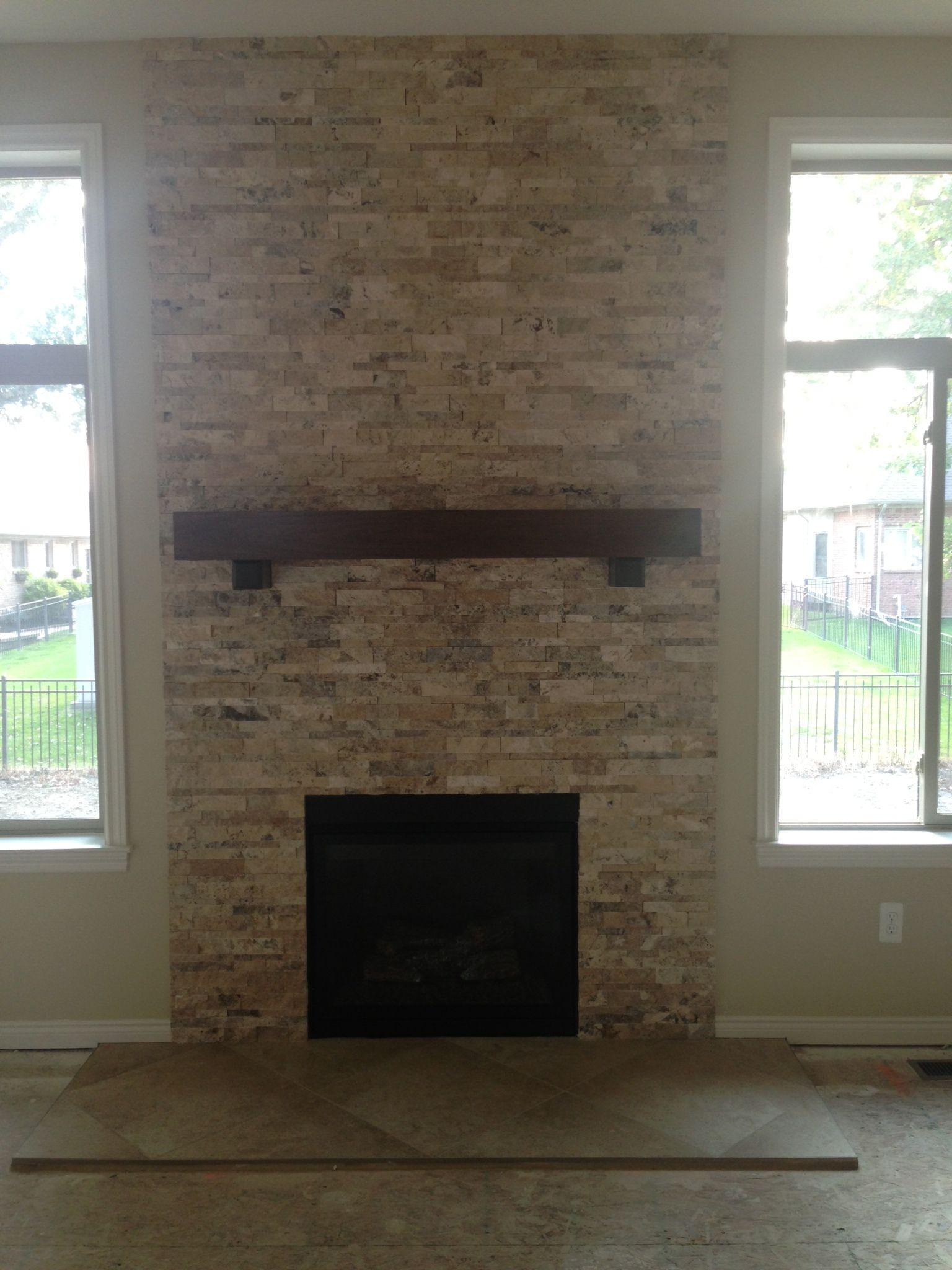 inspirational travertine stacked stone fireplacefireplace doover