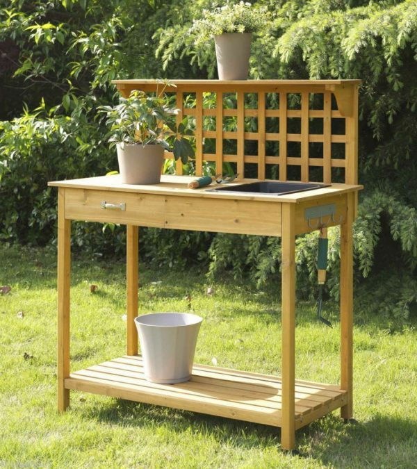 Inspirational Wood Potting Bench Planter Outdoor Garden Sink Planting Medium