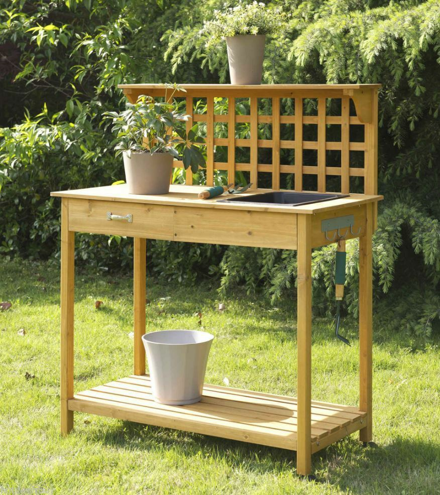 inspirational wood potting bench planter outdoor garden sink planting