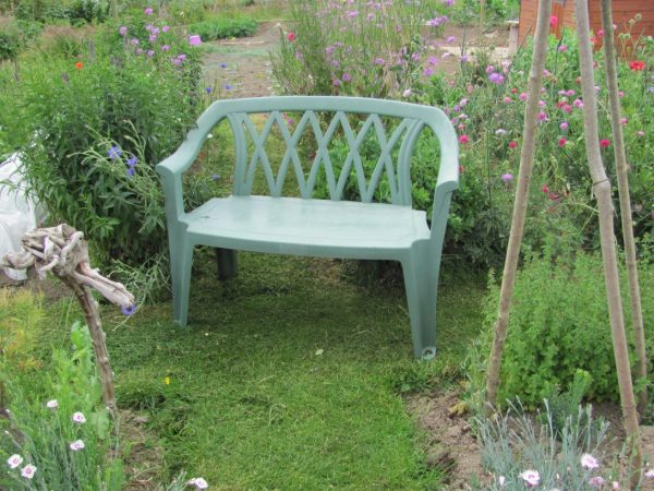 Looking Plastic Garden Bench With Storage All Weather Outdoor Medium