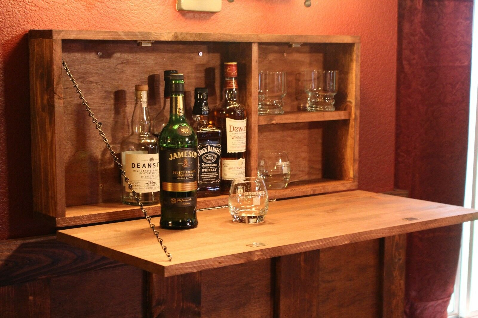 looking rustic wooden murphy bar hidden liquor cabinet wall mounted