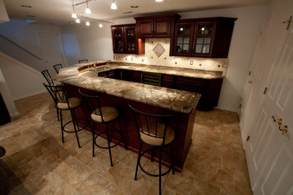Our Favorite Basement Bar With Fire Bordeaux Granite Contemporary Medium