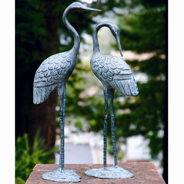 Our Favorite Brass Crane Pair Garden Statue Bird Birds Wetlandebay Medium