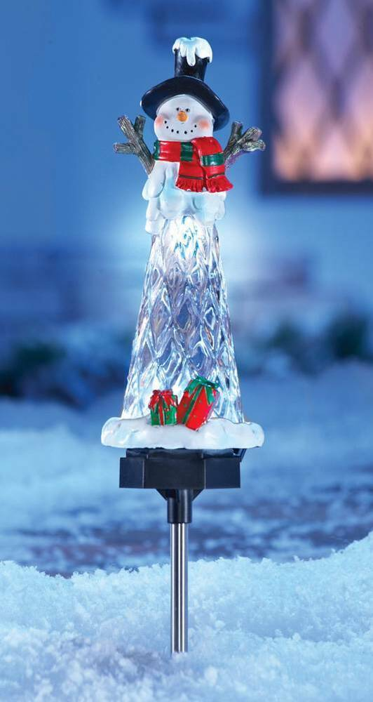Our Favorite Solar Lighted Holiday Snowman Icicle Stake Outdoor Medium