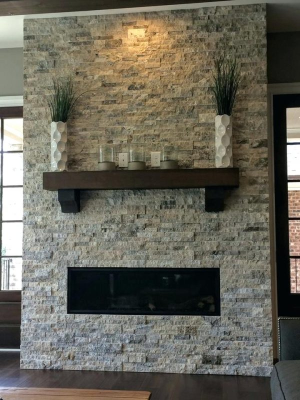 Our Favorite Stacked Travertine Fireplace Tile  Forforainfo Medium