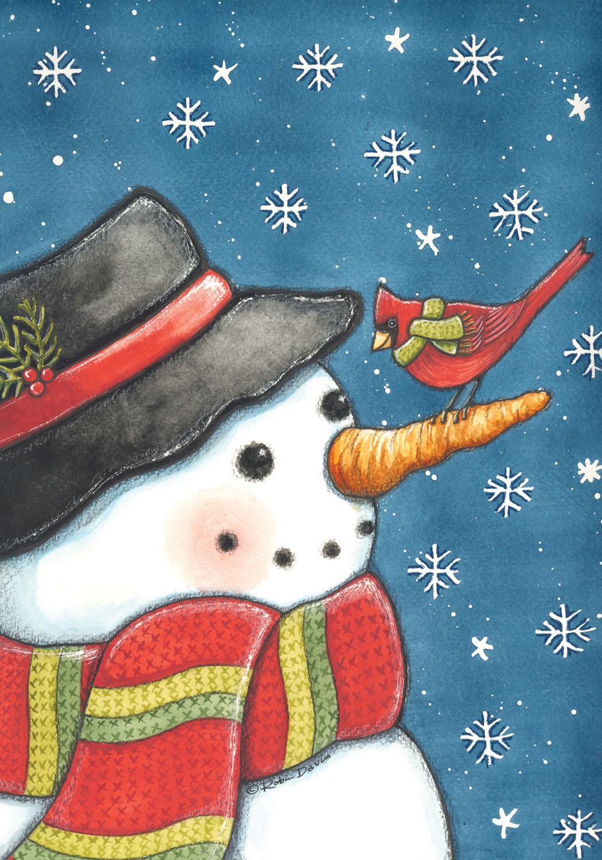 our favorite toland cardinal snowman garden flag