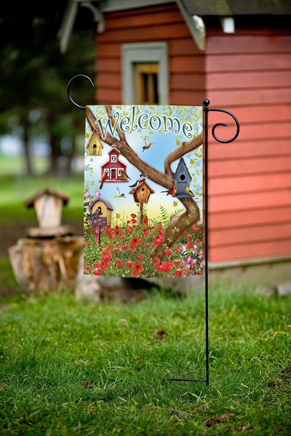Our Favorite Toland Home Garden Poppies And Birdhouses Garden Flag Medium