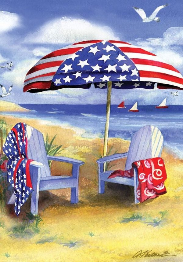 Patriotic Beach Summer Garden Flag Adirondack Chairs Medium