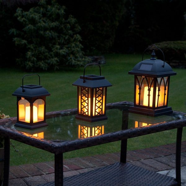 Perfect Solar Flickering Candle Lantern Amber Led 3 Pack Medium