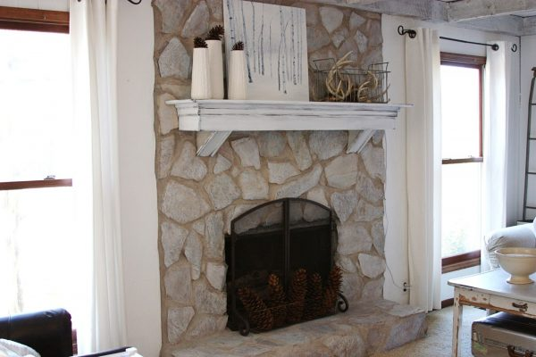 Popular Erins Art And Gardens Painted Stone Fireplace Before And Medium