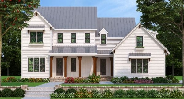 Popular Holston Farm House Plan Bright White Clapboard Siding Medium