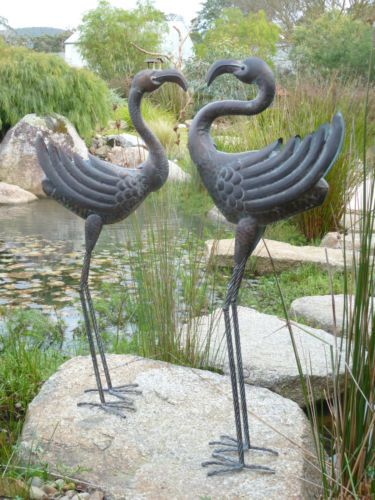 Popular Set Of 2 Pair Of Metal Crane Stork Water Bird Garden Pond Medium