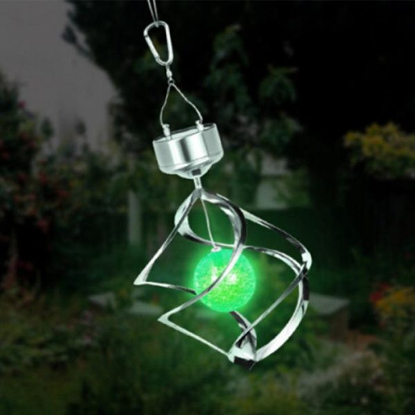 popular solar powered color changing wind spinner led light garden medium