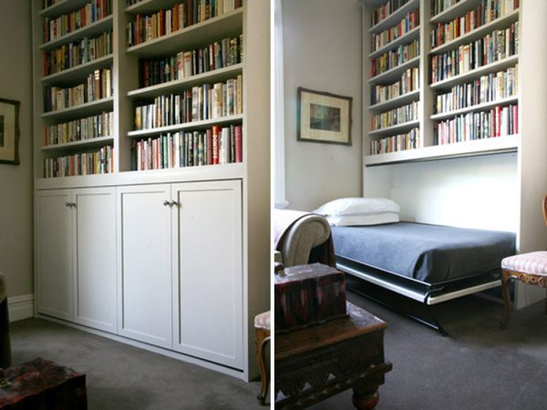 Popular White Traditional Murphy Bed Bookshelf Hideaway Hidden Medium