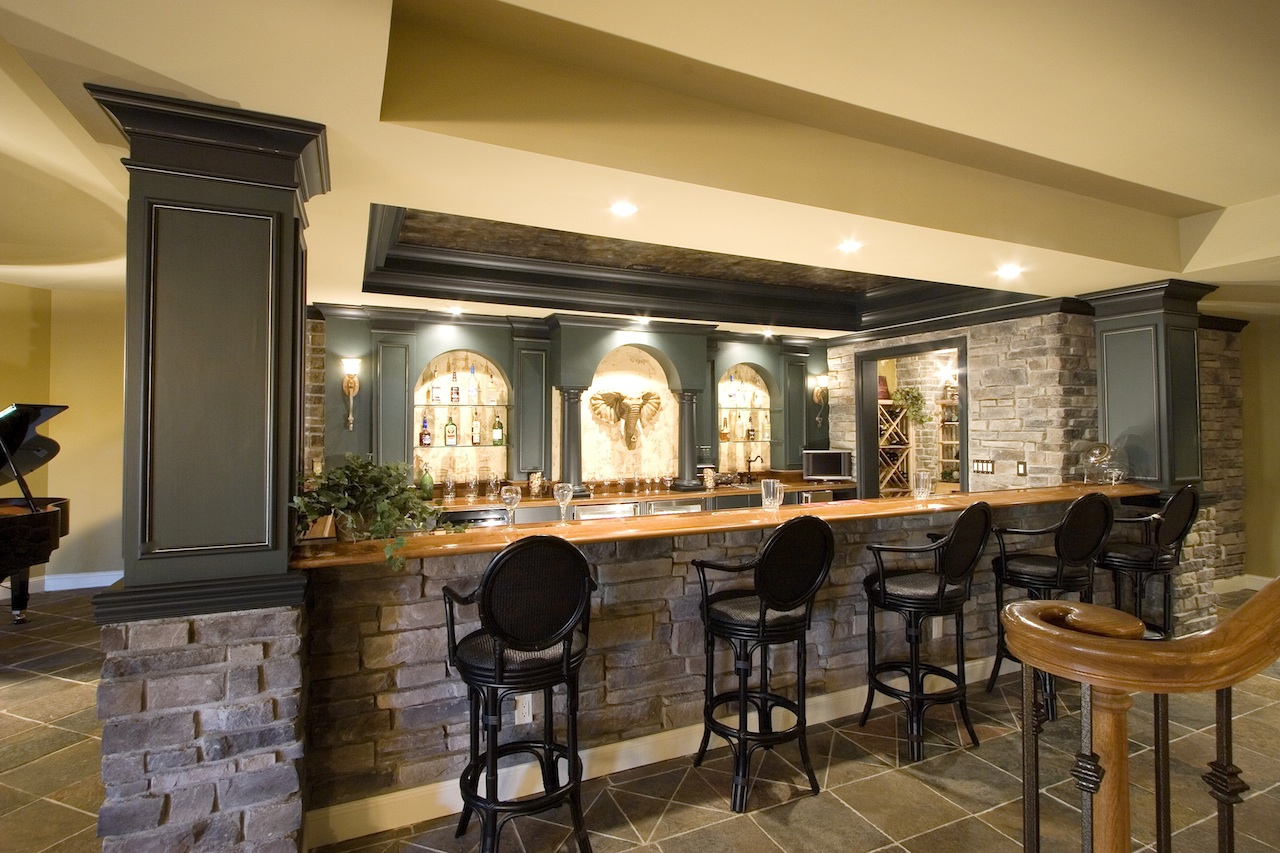 popular yellow interior design of home basement bar ideas with