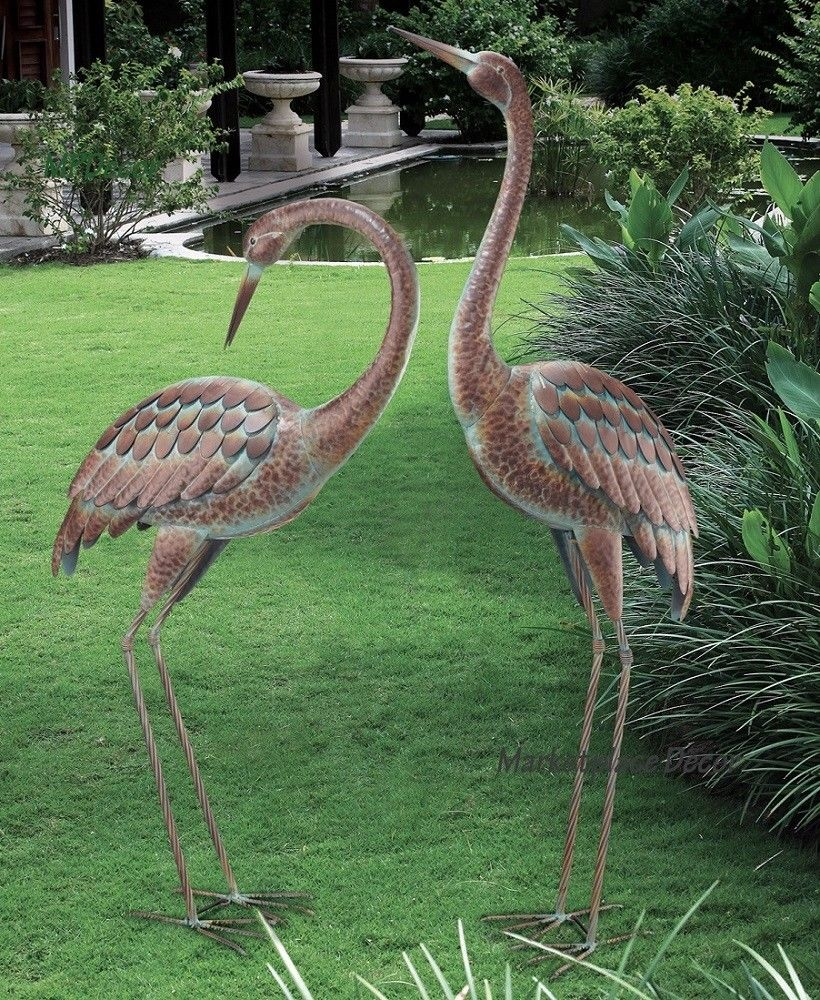 search garden crane pair statues heron bird sculpture metal