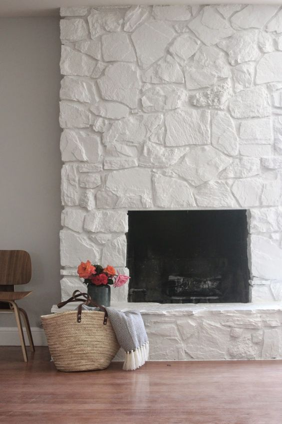 Search Image Result For Painted White Rock Fireplace Before And Medium