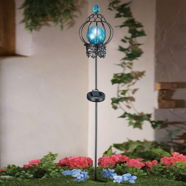 Simply Blue Mosaic Ball Solar Powered Garden Stake Light Yard Medium