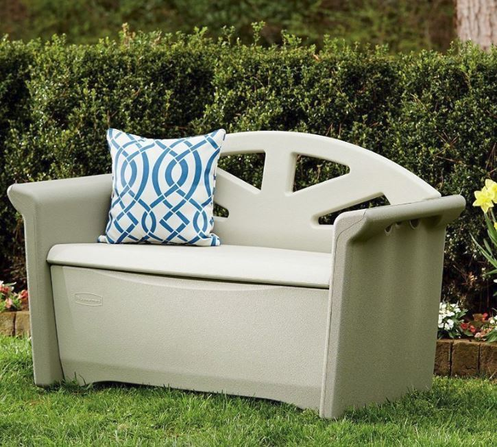 simply patio outdoor storage bench 32 gallon resin deck box seat