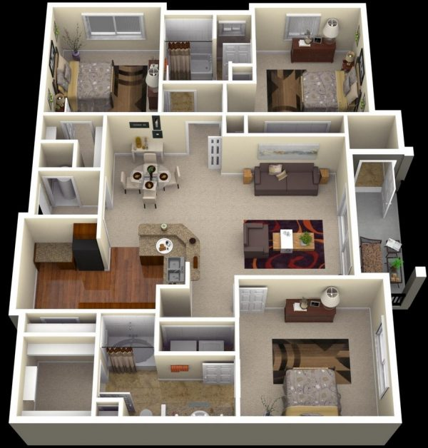 Style 3 Bedroom Apartment House Plans Futura Home Decorating Medium