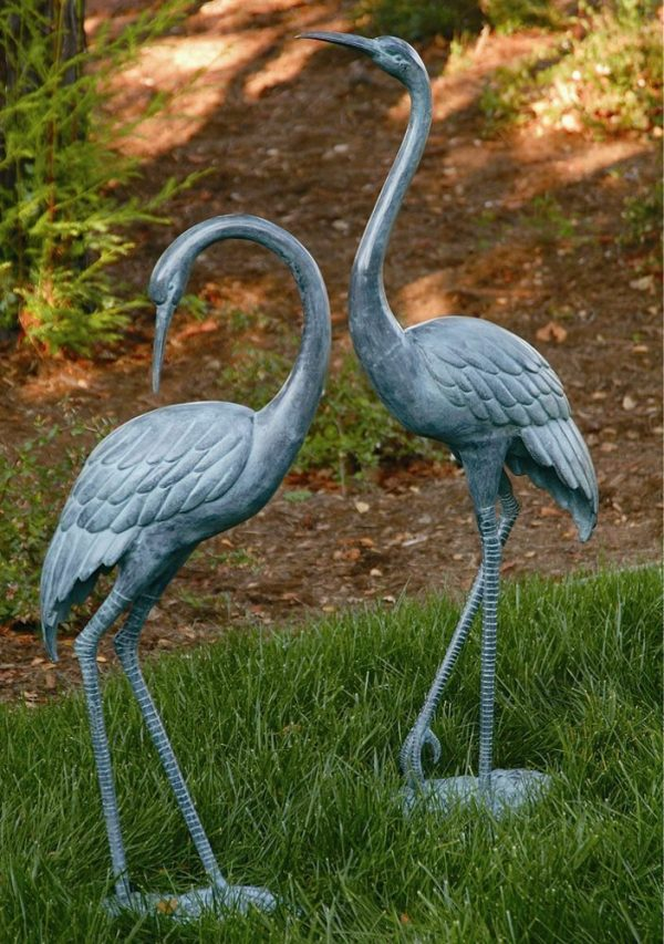 Style Brass Medium Crane Pair Garden Statue Coastal Heron Bird