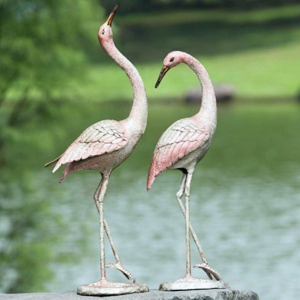 Style Graceful Cast Iron Crane Flamboyant Pair Garden Pool Patio Medium