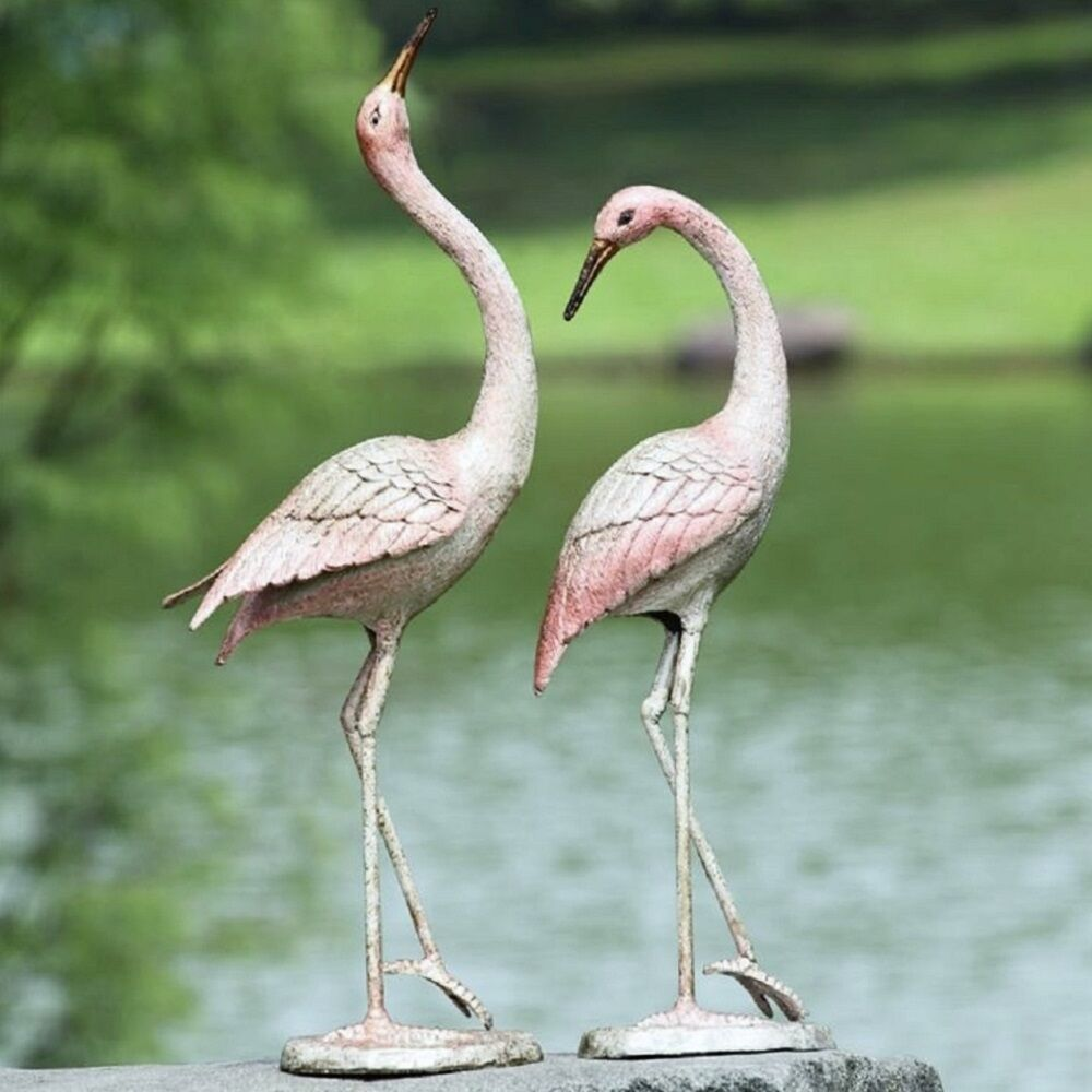 style graceful cast iron crane flamboyant pair garden pool patio